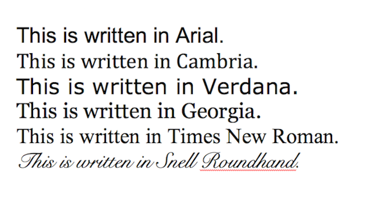 Examples of different fonts including Times New Roman and Arial