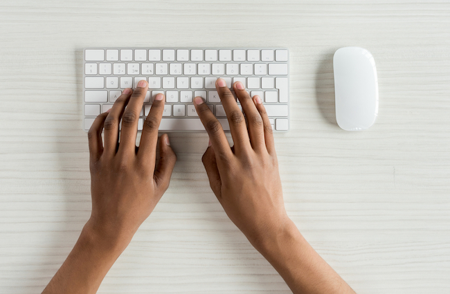What is correct finger placement for typing?